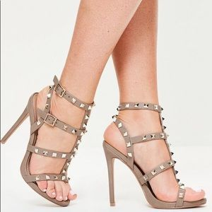 Missguided Studded Taupe Heeled Gladiator Sandal 9